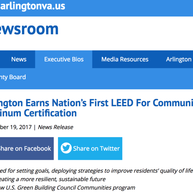 Arlington Earns Nations First Leed For Communities Platinum